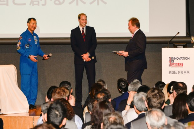 Prince William, Japanese astronaut Soichi Noguchi and Aston Martin CEO Andy Palmer