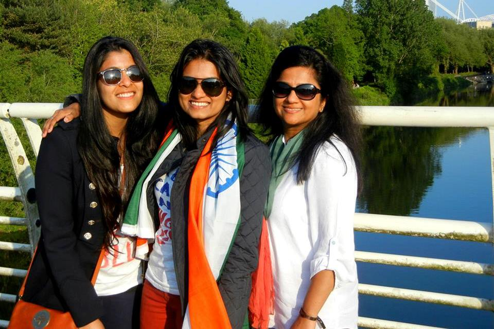 Nikita with her Indian friends with the Indian flag